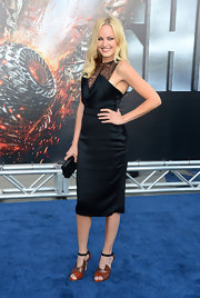 Malin Akerman stepped out in heels featuring a patchwork of textured brown leather.
