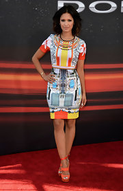 For her look at the premiere of 'Fast and Furious 6,' Rocsi Diaz appropriately wore a printed dress that featured a car design on it.