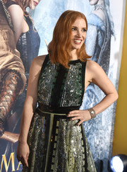 Jessica Chastain accessorized with an ultra-luxe diamond bracelet watch at the premiere of 'The Huntsman: Winter's War.'