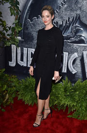 Judy Greer went for subdued sophistication in a long-sleeve LBD with pin accents down one side during the 'Jurassic World' premiere.