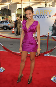 Selita Ebanks sizzled at the premiere of 'Larry Crowne' in a pair of peep-toe leopard print booties.