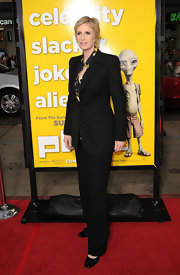 Jane looks sophisticated at the 'Paul' premiere in a black suit with a printed blouse.