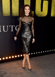 Hailee Steinfeld was a knockout in a black Tom Ford sequin dress with a sheer overlay at the premiere of 'Pitch Perfect 3.'