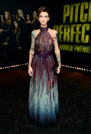 Ruby Rose enchanted in an ombre halter gown by Elie Saab at the premiere of 'Pitch Perfect 3.'