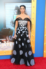 Camila Alves enchanted in a black-and-white off-the-shoulder gown by Yanina Couture at the premiere of 'Sing.'