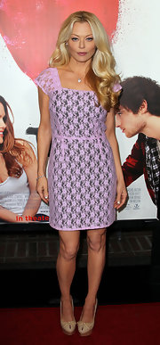Charlotte showed her softer side in a lace pink cocktail dress at the 'Waiting for Forever' premiere.