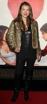Nathalia Ramos wore a winter-ready leopard print jacket at a movie premiere.
