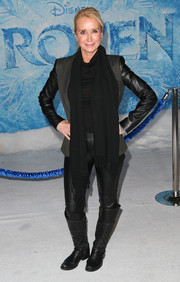 Kim Raver completed her rocker-chic ensemble with a pair of quilted black knee-high boots.