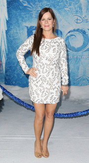 Marcia Gay Harden showed some leg in an embroidered black-and-white mini dress during the premiere of 'Frozen.'