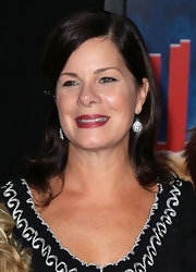 Marcia Gay Harden was seen with kids at the premiere of 'Wreck-It Ralph' wearing a casual outfit teamed up with paved dangle earrings.