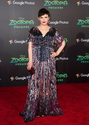 Ginnifer Goodwin chose a ruby-red box clutch by Yliana Yepez to complete her look.