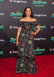Garcelle Beauvais went for ultra-feminine appeal in a floral off-the-shoulder maxi dress at the premiere of 'Zootopia.'
