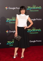 Constance Zimmer amped up the cuteness with this white eyelet ruffle blouse at the premiere of 'Zootopia.'
