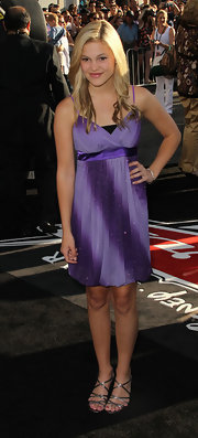 Olivia Holt shimmered in this two toned purple babydoll number.