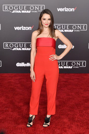 Rachael Leigh Cook was all about easy sophistication in a strapless red jumpsuit by Mestiza New York at the premiere of 'Rogue One: A Star Wars Story.'