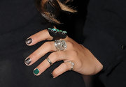 Vanessa Hudgens showed off a unique manicure at the 'Pirates of the Caribbean' premiere. Gun metal and green polish were her choice of colors for the evening.