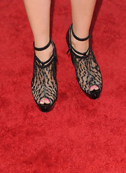 Stephanie Pratt showed off her lace embellished ankle boots while hitting the 'Going The Distance' premiere.