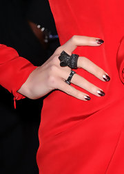 Megan Fox got a half-moon manicure with metallic plum and silver polish for the 'Jonah Hex' premiere.