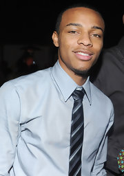 Bow Wow kept it classy in a black, gray, and blue striped tie at the premiere of 'Lottery Ticket.'