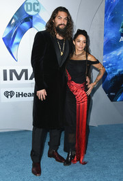 Lisa Bonet attended the premiere of 'Aquaman' wearing a fringed and embroidered gown by Alexander McQueen.