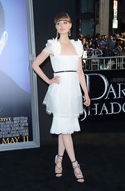 Bella Heathcote stepped into an adorable pair of ballet slipper-inspired heels with delicate laces for the 'Dark Shadows' premiere.