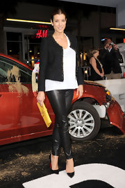 Kate Walsh struck a confident pose in a pair of black pointy toe Christian Louboutins. The actress paired the fierce footwear with leather leggings.
