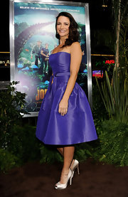 Kristin Davis wore a strapless taffeta purple dress to the 'Journey 2' premiere.