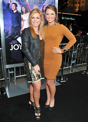 Leigh Anne Tuohy topped her glitter dress with a cropped leather jacket at the movie premiere.