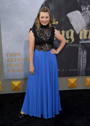 Beverley Mitchell paired a blue maxi skirt with a black lace top for the premiere of 'King Arthur: Legend of the Sword.'