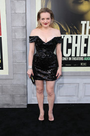 Elisabeth Moss looked party-ready in an off-the-shoulder, sequined LBD by Vivienne Westwood at the premiere of 'The Kitchen.'