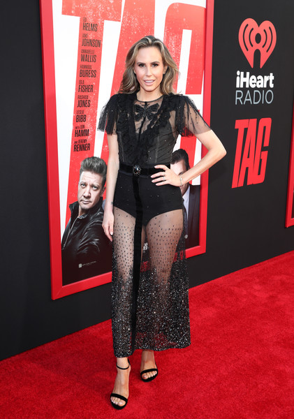 Keltie Knight flashed plenty of skin in a sheer black dress at the premiere of 'Tag.'