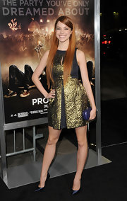 Alexis Knapp wore this textured metallic cocktail dress to the 'Project X' premiere.