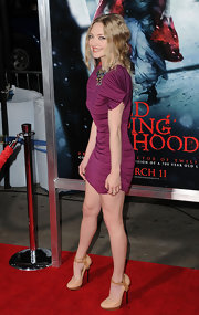 Amanda Seyfried sizzled at the premiere of 'Red Riding Hood' in nude Lanvin Spring 2011 pumps with natural wood platforms.
