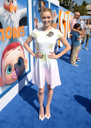 Greer Grammer kept it sweet in a fit-and-flare dress with a subtle print during the premiere of 'Storks.'
