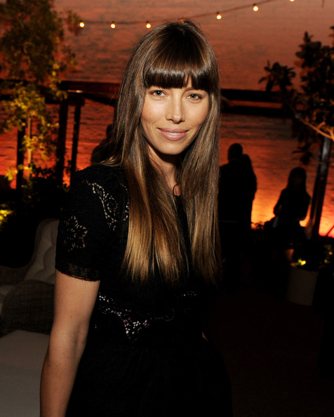 More Pics of Jessica Biel Long Straight Cut with Bangs (3 of 3) - Jessica Biel Lookbook - StyleBistro