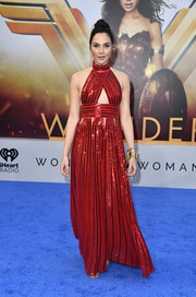 Gal Gadot dazzled in a sequined red cutout gown by Givenchy at the premiere of 'Wonder Woman.'