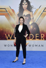 Lynda Carter stayed low-key in a black pantsuit at the premiere of 'Wonder Woman.'