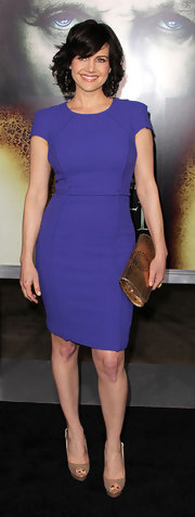 "Carla Gugino looked demure at the premiere of ""The Rite"" in nude peep toe platforms."