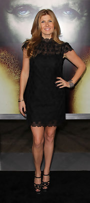 Connie Britton dazzled in knotted black platform peep toes with delicate ankle straps.