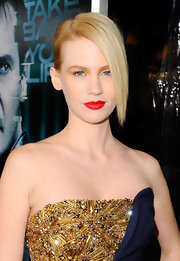 January Jones added a golden touch to her embellished McQueen dress with saturated eyeshadow.
