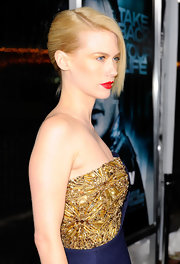 January Jones highlighted her strapless neckline by pulling her hair back in a slick French twist.
