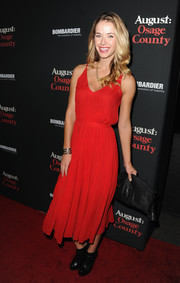 Olivia Jordan was airy and feminine in a red cami dress during the LA premiere of 'August: Osage County.'