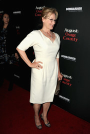Meryl Streep chose a no-frills white dress for her red carpet look during the 'August: Osage County' LA premiere.