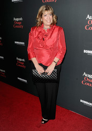 Sheila G Mains looked very feminine in her red ruffle blouse at the LA premiere of 'August: Osage County.'