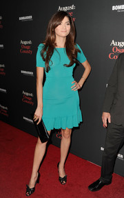 Blanca Blanco attended the 'August: Osage County' LA premiere wearing a simple yet chic turquoise cocktail dress.