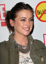 Jessica Stroup pulled her hair up into an ultra-casual ponytail for the premiere of 'Bully.'