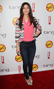 Victoria Jusctice went casual in this cropped striped blazer for the 'Bully' premiere.