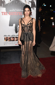 Jenna Dewan-Tatum looked alluring in a Marchesa sheer nude dress with black caged piping cascading along the gown for a glamorous look at 'The Hateful Eight' premiere.