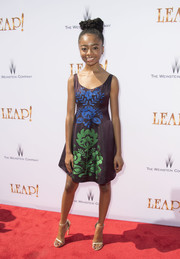 Skai Jackson chose a Cynthia Rowley cocktail dress featuring intricate floral embroidery down the front for her look during the premiere of 'Leap!'