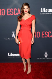Lake Bell was the picture of refined elegance at the premiere of 'No Escape' in a red Vionnet off-the-shoulder dress with crisscross ruching on the bodice.